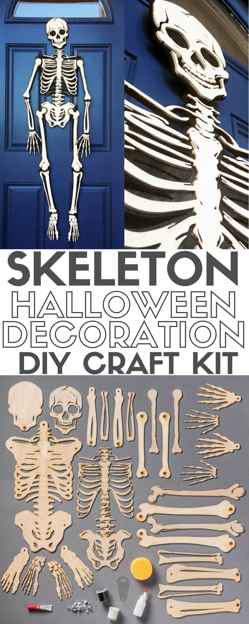 mr bones craft kit halloween skeleton laser cut wood home - Skeleton Halloween Decoration