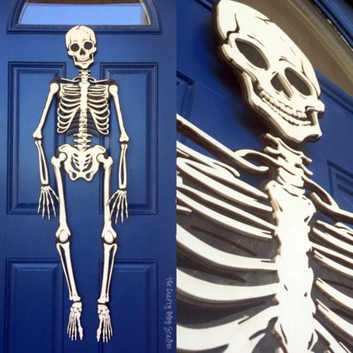 How to make a full skeleton. Perfect to hang on the front door for Halloween! A simple DIY craft tutorial for the Apostrophe S Craft Kit, Mr. Bones.