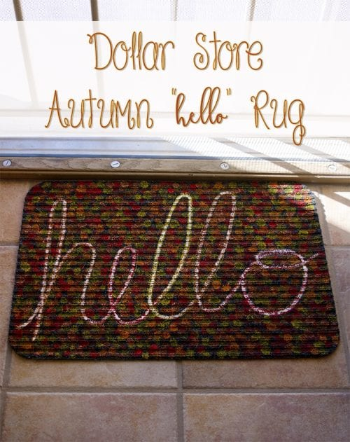a hand painted rug that says hello with fall color spots