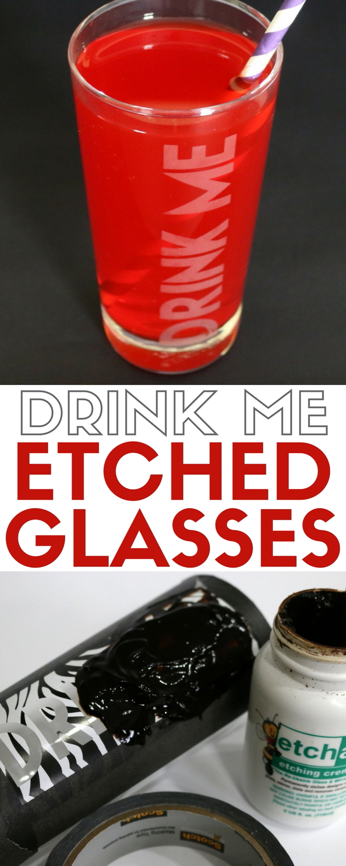 How to make glass etched drinking glasses with etching cream. An easy DIY craft tutorial idea, perfect for the kitchen or make personalized handmade gifts.