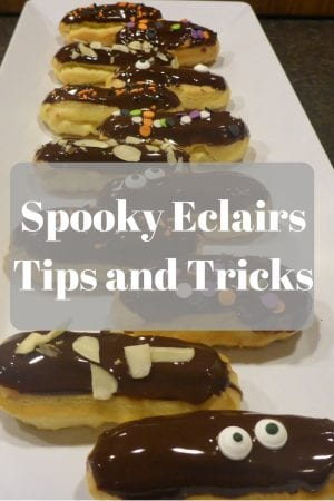 Easy DIY recipe tutorial for homemade eclairs. Make them spooky eclairs for Halloween or simple eclairs for a yummy dessert for any time of year.