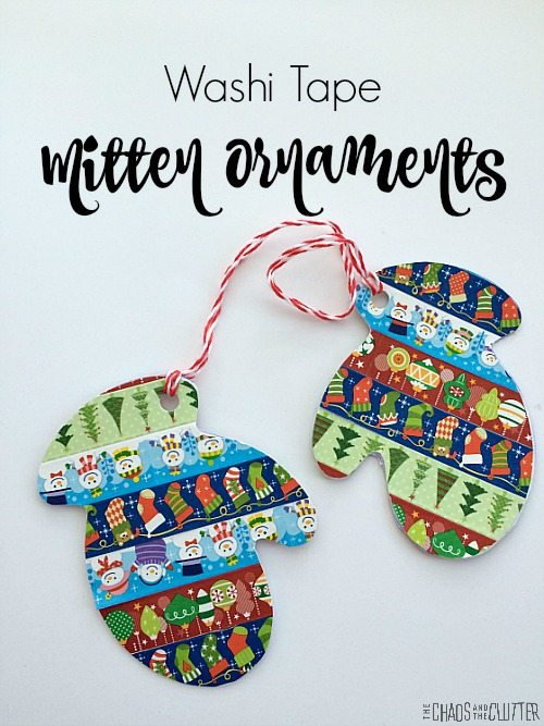 Washi Tape Mitten Christmas Ornaments