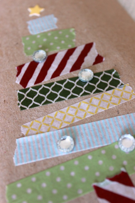 washi tape christmas trees closeup
