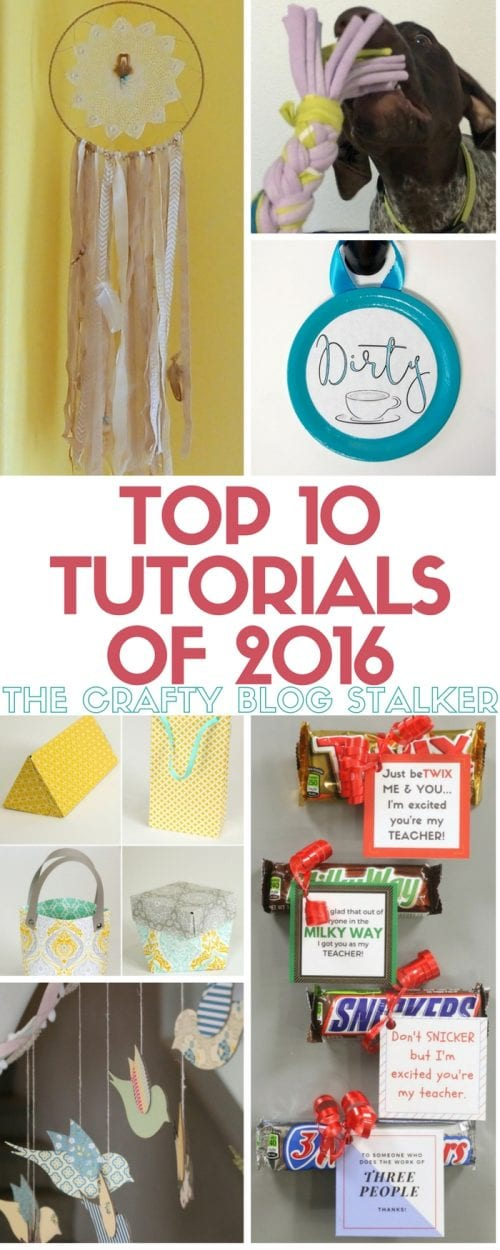 Top 10 Tutorials of 2016 from The Crafty Blog Stalker. See if your favorite easy DIY craft tutorial idea made the top of the list!