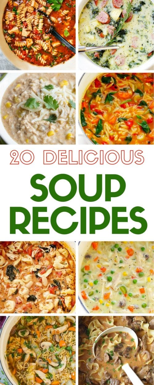 Enjoy 20 Delicious Soup Recipes to warm the body and the soul on a cold day. Quick and easy DIY recipe tutorial ideas for many different soups.