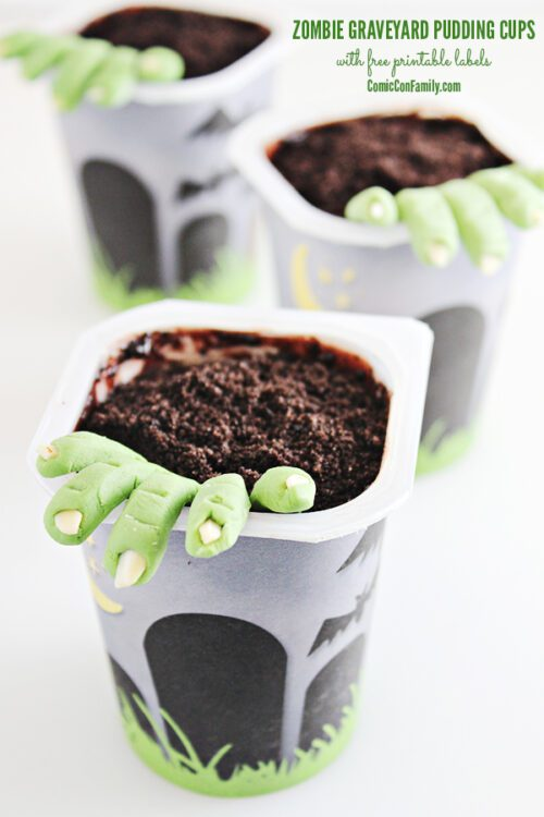 Zombie Graveyard Pudding Cups with Free Printable Snack Pack
