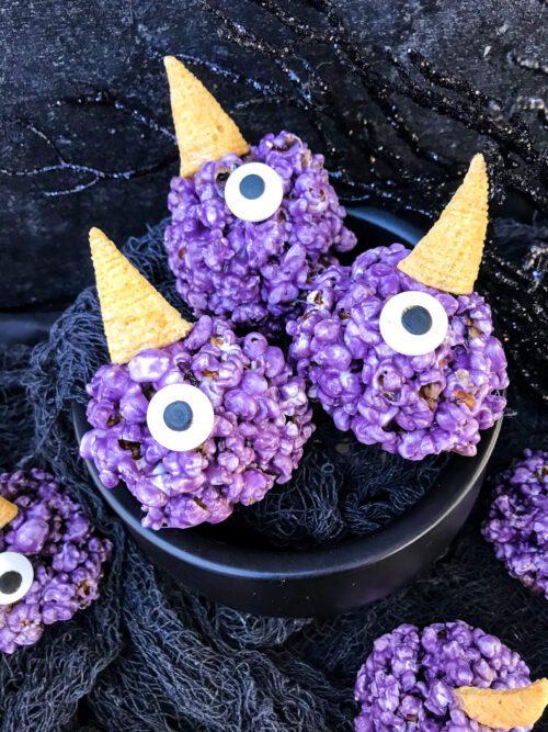 purple people eater marshmallow halloween popcorn balls