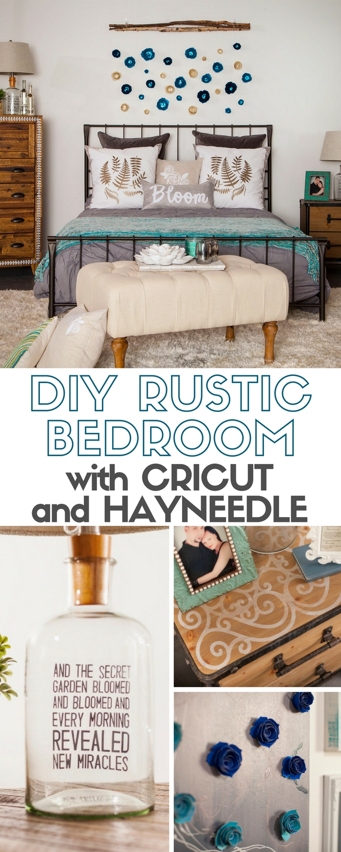 You can create a beautiful Rustic Bedroom theme when you combine Hayneedle furniture and easy DIY craft tutorial ideas using the Cricut Explore.