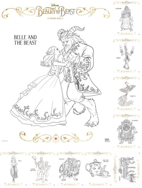 Download Free Printable Coloring Sheets For Disneys Beauty And The Beast Fall In Love With