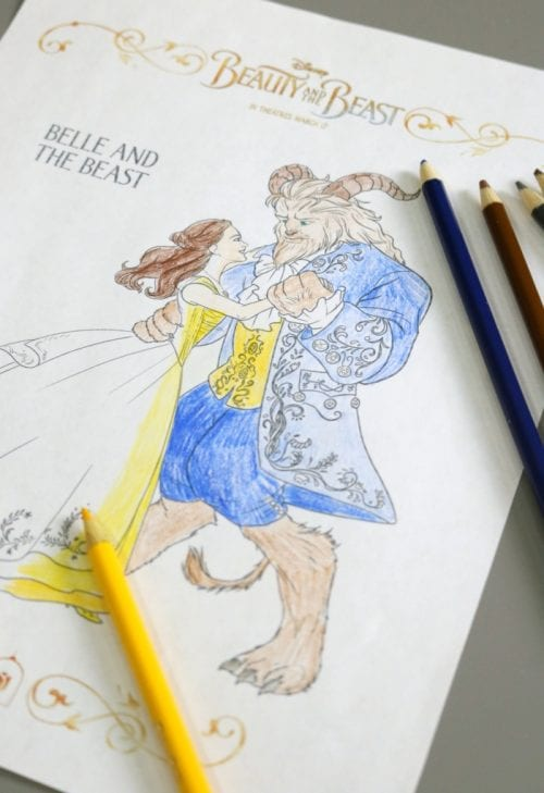 Download free printable coloring sheets for Disney's Beauty and The Beast. Fall in love with Belle all over again. An easy kids craft idea.