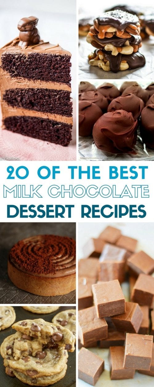 Do you have a chocolate craving? Here are 20 of the Best Milk Chocolate Dessert Recipes! All are easy homemade DIY recipe ideas to calm the craving.