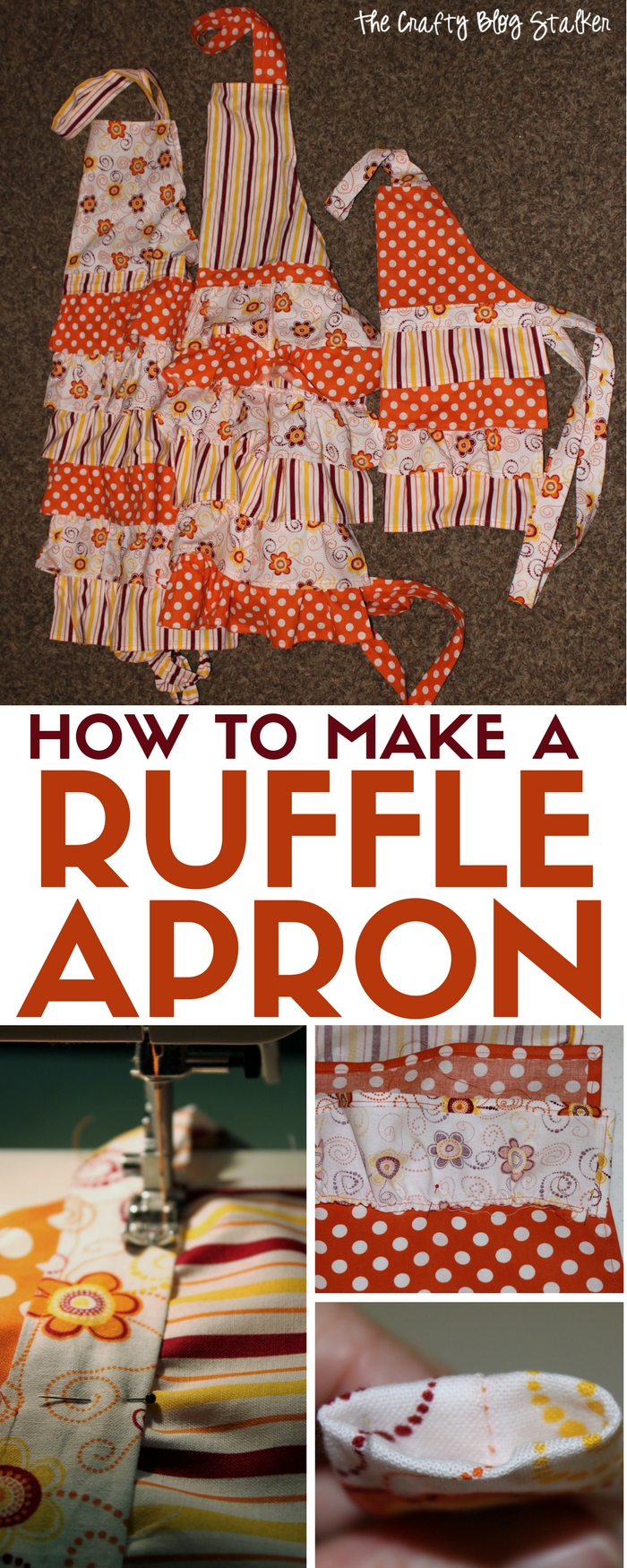 Learn how to make and sew an easy ruffle apron. A DIY craft tutorial idea that makes great handmade gifts, perfect for your favorite chef.