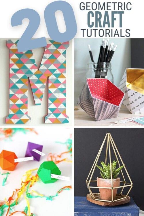 title image for 20 DIY Geometric Decor Craft Ideas