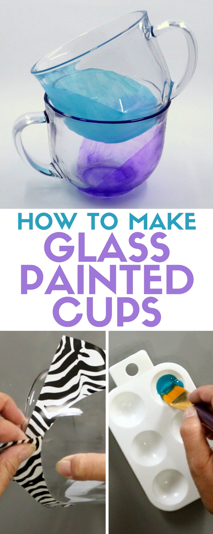 Learn how to add color to your favorite drinking cups with Americana Gloss Enamels Glass Paint. An easy DIY craft tutorial idea.