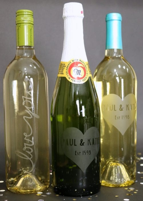 20 Personalized DIY Wedding Gifts for Newlyweds you Can Make with a Cricut, featured by top US craft blog, The Crafty Blog Stalker: Etched Glass Wine Bottle