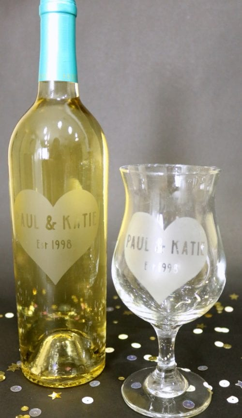 Personalized Etched Glass Wine Bottle with matching wine glass