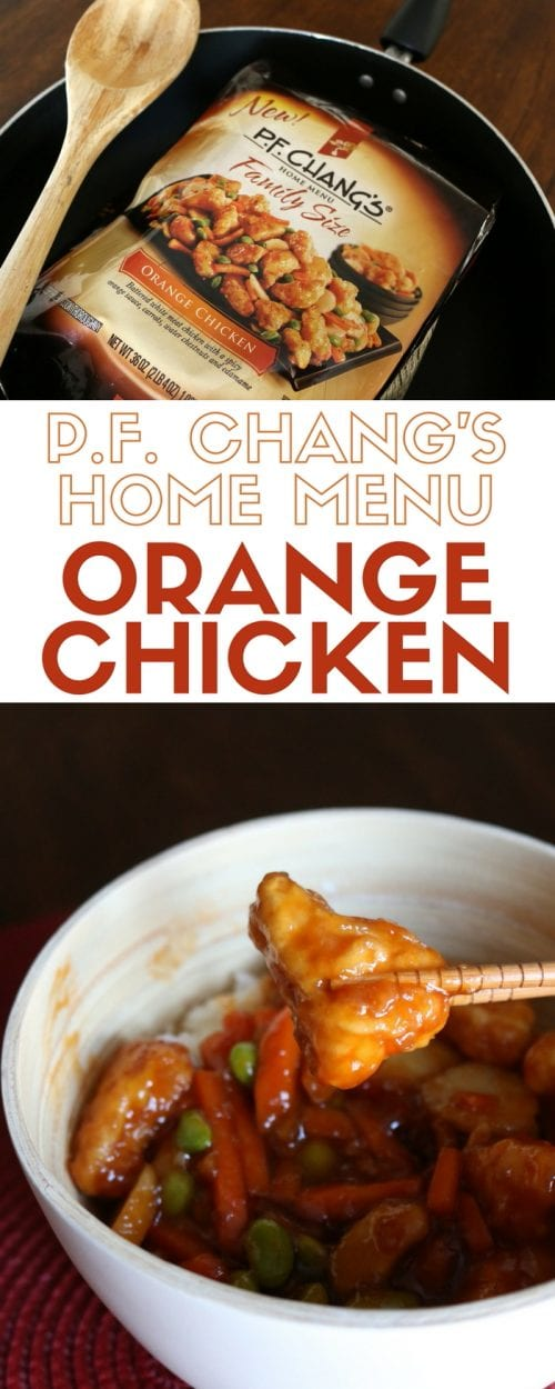 header image showing P.F. Chang's Home Menu frozen meal in the package and made for dinner