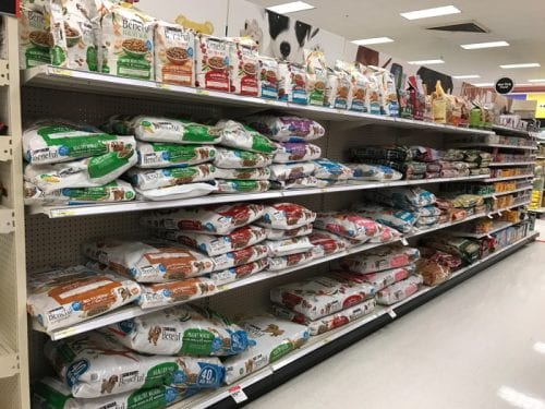 dog food aisle at target looking at the Purina Beneful choices