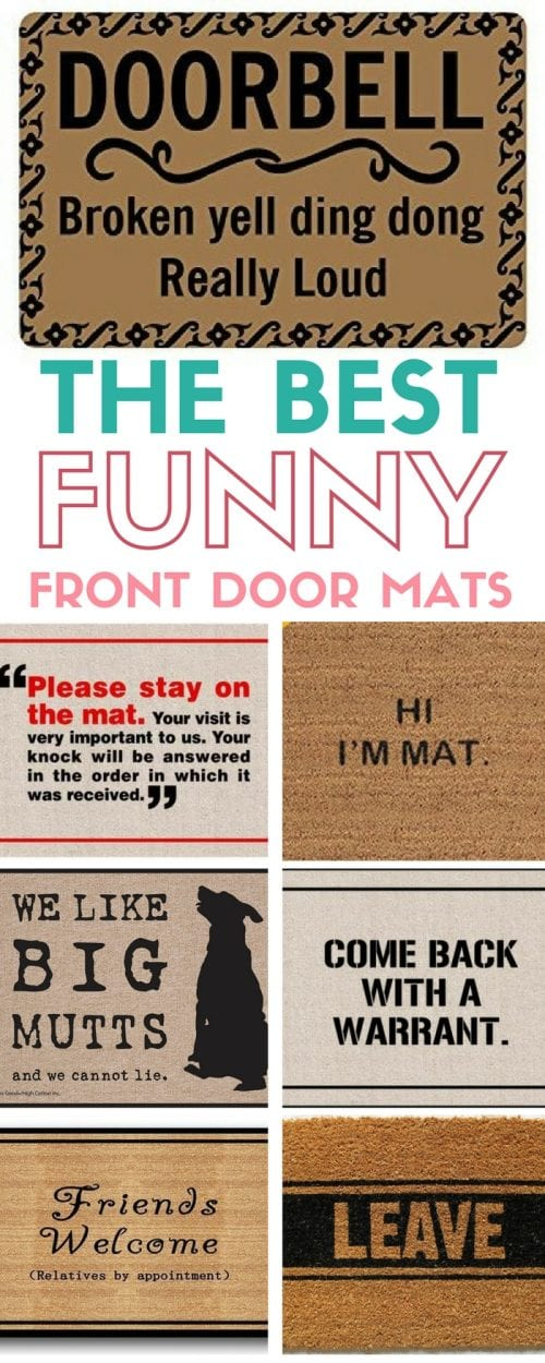 a collage of 7 funny doormats