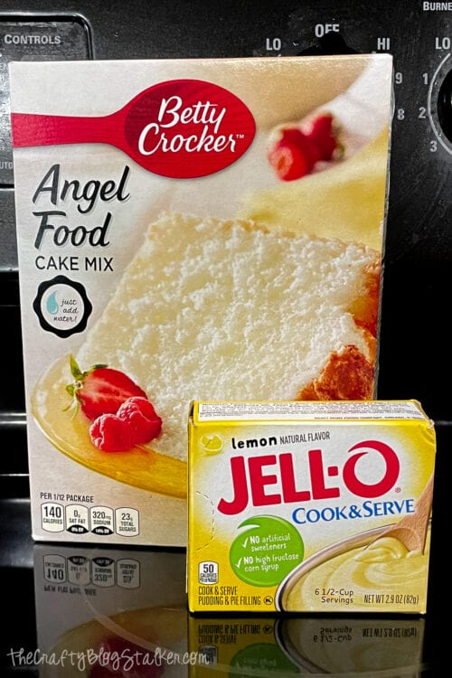 Betty Crocker Angel Food Cake Mix und Jello Cook & Serve Lemon Pudding Mix