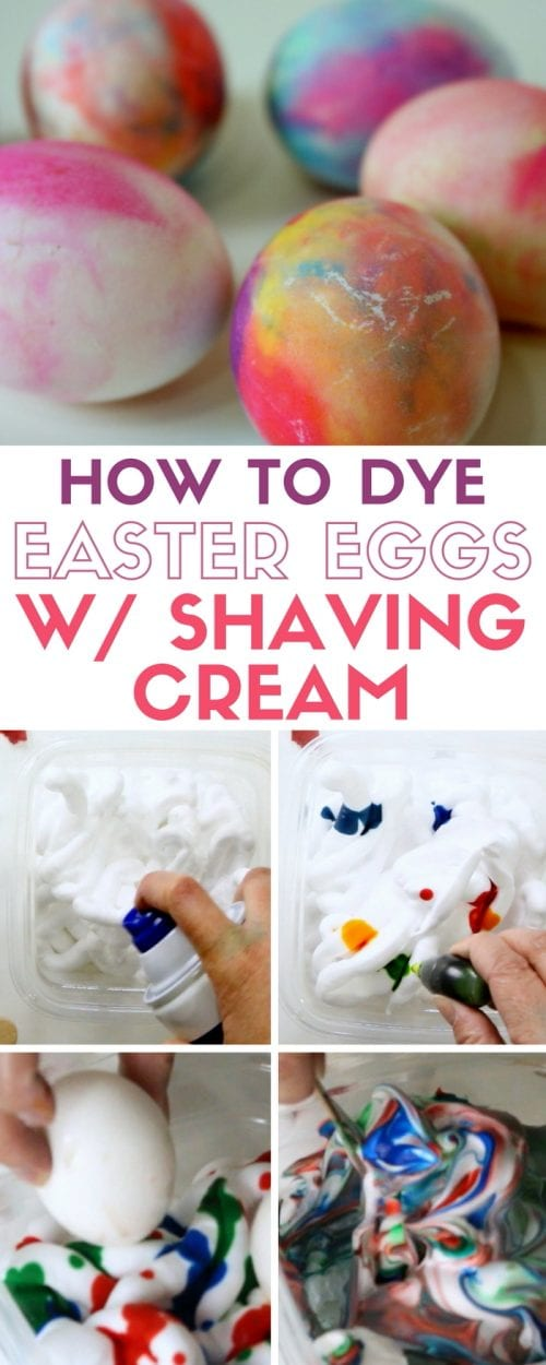 header image for how to dye eggs for easter with shaving cream and food coloring - includes step by step images