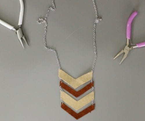 Leather Chevron Necklace | DIY Jewelry | Handmade Jewelry | Cricut Explore | Deep Cut Blade