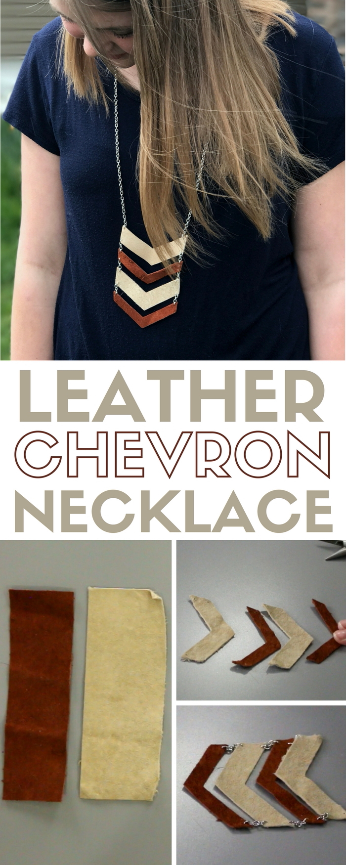 Leather Chevron Necklace | DIY Jewelry | Handmade Jewelry | Cricut Explore | Deep Cut Blade