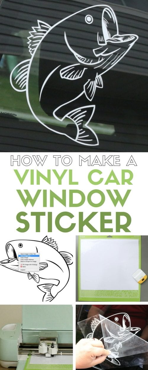 Vinyl Car Window Decal Sticker with Cricut Explore featured by top US craft blog, The Crafty Blog Stalker: header image for how to make a vinyl car window sticker with a big mouth bass custom car decal