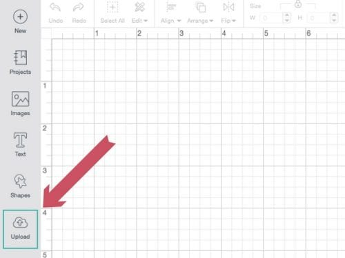 showing where to click in Cricut Design Space to upload an image