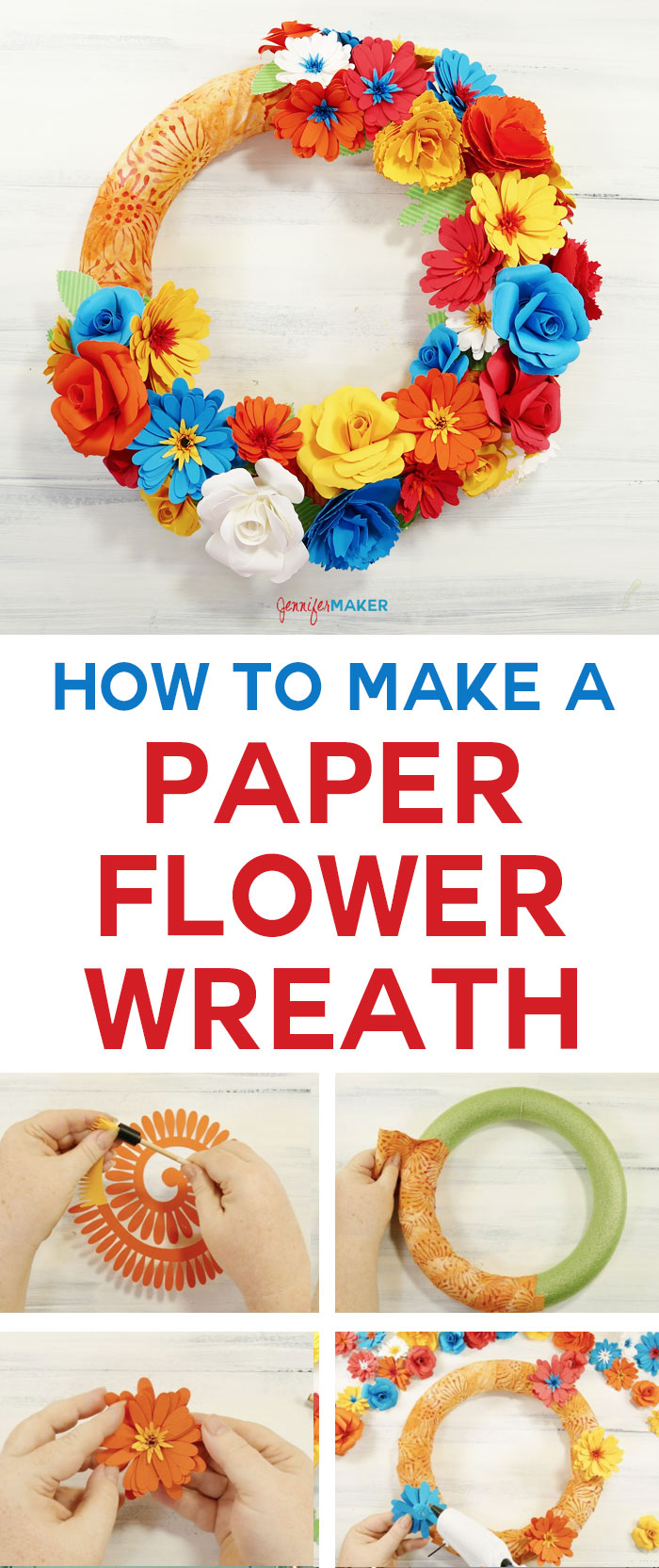 How to make a paper flower wreath the crafty blog stalker paper flower wreath cricut explore handmade paper flowers easy home decor diy mightylinksfo