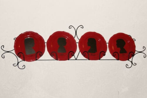 silhouette plates on display