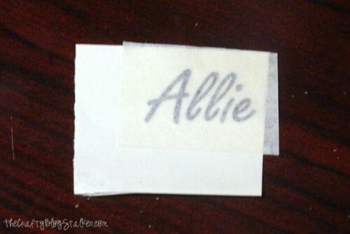 a name cut out of vinyl on a cricut