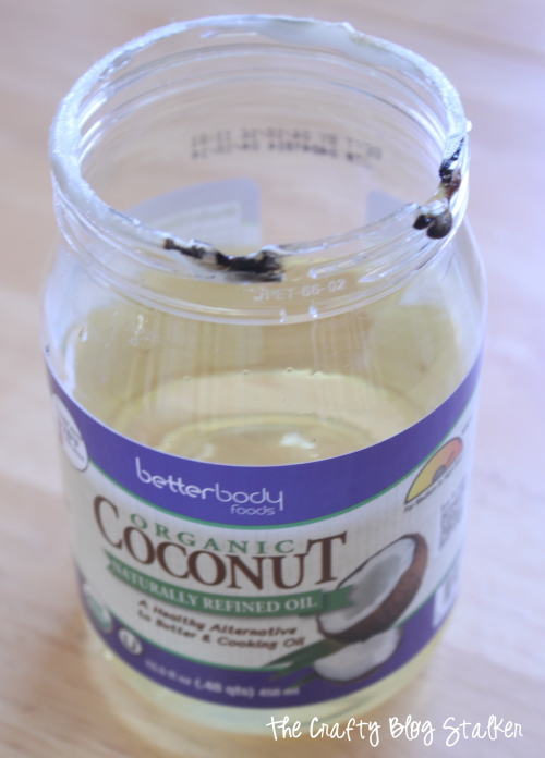 top of melted coconut oil jar