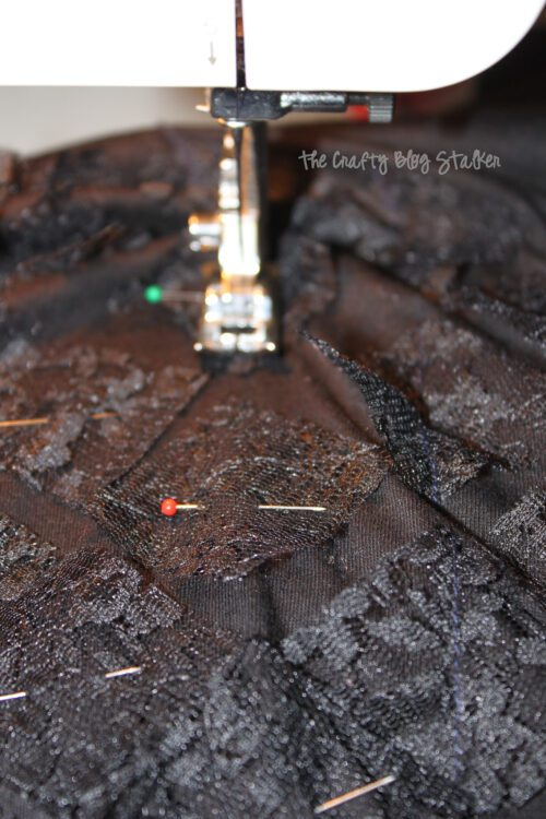 sewing black lace to a t-shirt