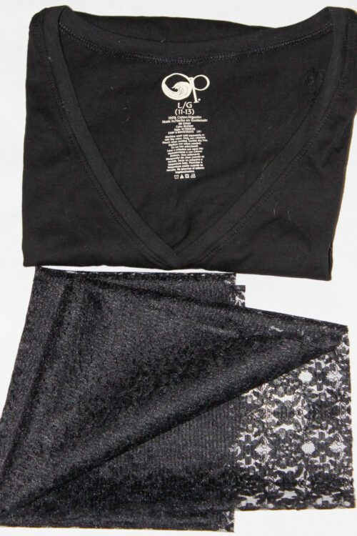 blackt-shirt and lace to make a shirt refashion