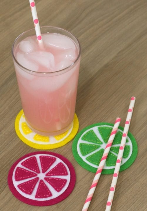 Easy-to-Make DIY Coasters featured by top US craft blog, The Crafty Blog Stalker: image of felt citrus coasters