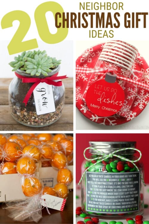 title image for 20 Inexpensive Neighbor Christmas Gift Ideas from Pinterest with a collage image