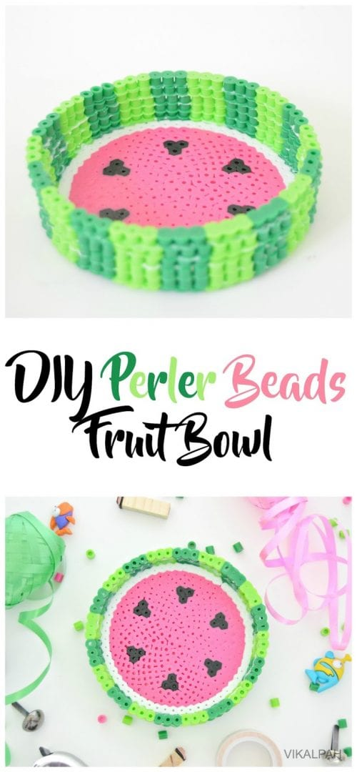 20 Fun Free Patterns for Perler Bead Crafts featured by top US craft blog, The Crafty Blog Stalker: perler bead fruit bowl