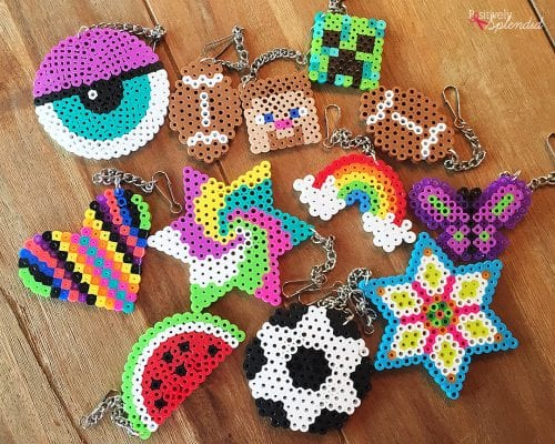 20 Fun Free Patterns for Perler Bead Crafts featured by top US craft blog, The Crafty Blog Stalker: perler bead backpack tags