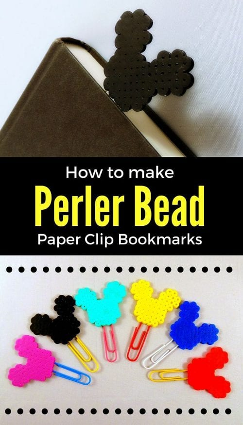 20 Fun Free Patterns for Perler Bead Crafts featured by top US craft blog, The Crafty Blog Stalker: DIY Mickey Mouse Perler Beads Bookmarks