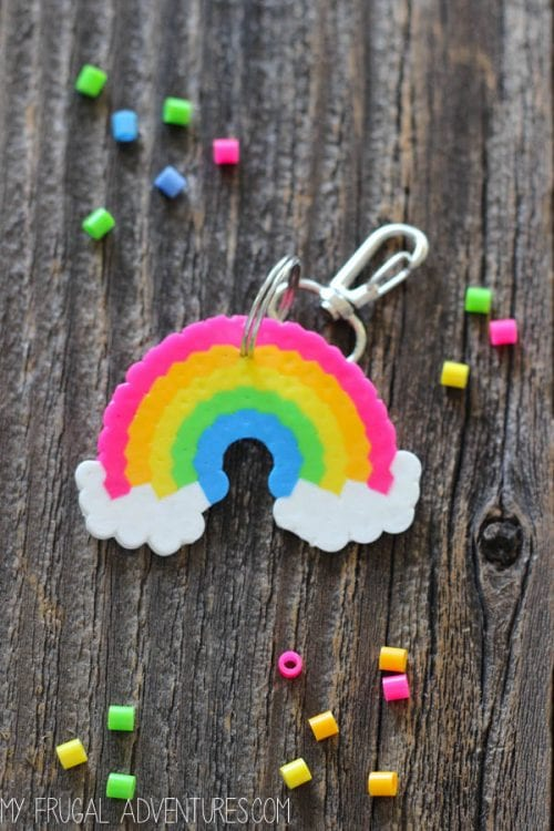20 Fun Free Patterns for Perler Bead Crafts featured by top US craft blog, The Crafty Blog Stalker: rainbow perler bead key chain