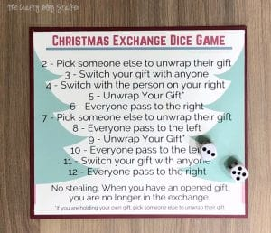 Christmas Gift Exchange Dice Game with Free Printable