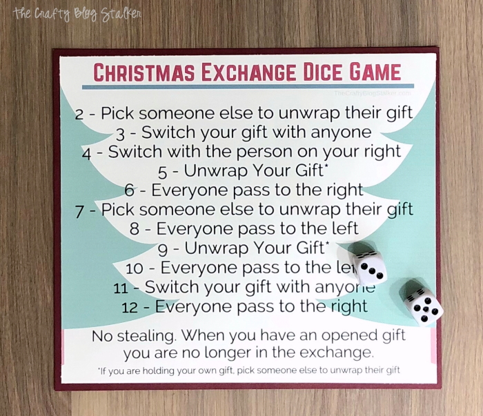Christmas Gift Exchange Dice Game Printable.Christmas Gift Exchange Dice Game With Free Printable