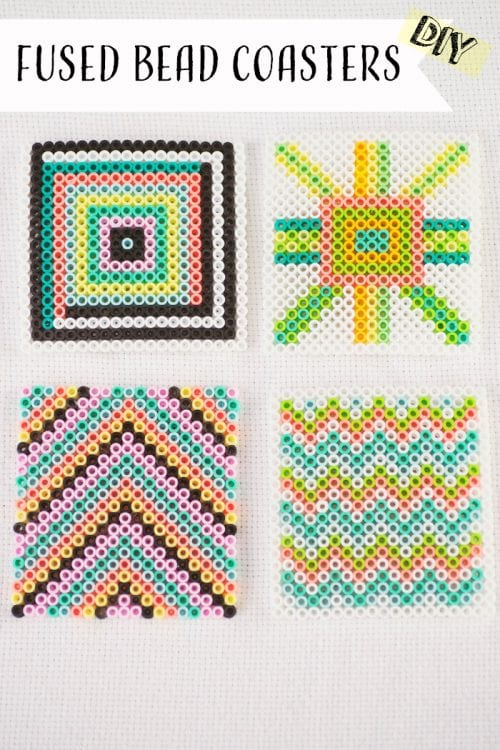 20 Fun Free Patterns for Perler Bead Crafts featured by top US craft blog, The Crafty Blog Stalker: perler bead coasters