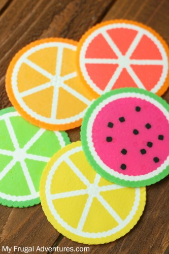 20 Fun Free Patterns for Perler Bead Crafts featured by top US craft blog, The Crafty Blog Stalker: Citrus Perler Beas Coasters
