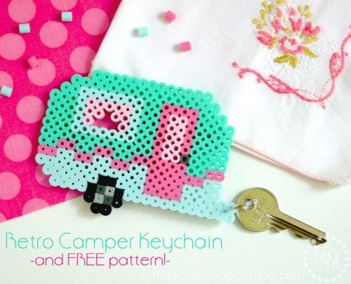 20 Fun Free Patterns for Perler Bead Crafts featured by top US craft blog, The Crafty Blog Stalker: perler bead camper key chain.