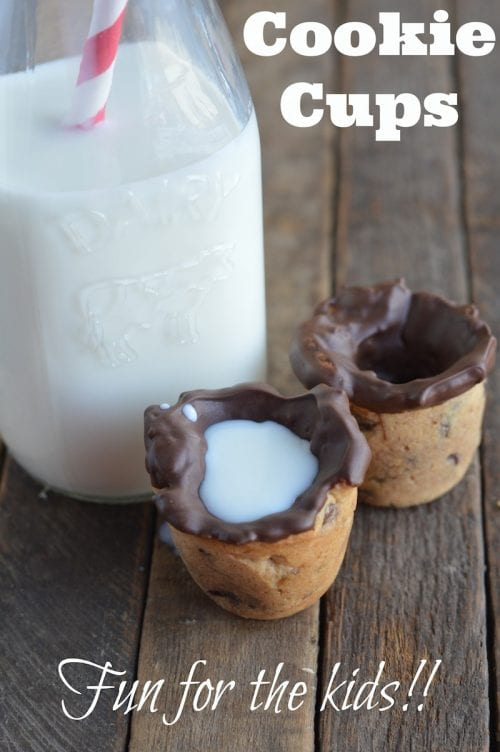 Chocolate Chip Cookie Cups filled with Milk