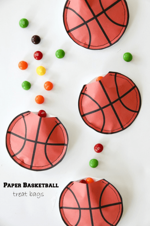 20 March Madness Party Ideas: Food, Games, and Decorations, featured by top US craft blog, The Crafty Blog Stalker: Basketball Paper Treat Pouches