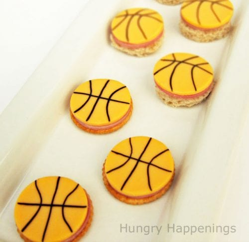 20 March Madness Party Ideas: Food, Games, and Decorations, featured by top US craft blog, The Crafty Blog Stalker: Little Basketball Sandwiches