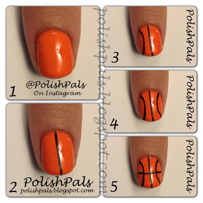 20 March Madness Party Ideas: Food, Games, and Decorations, featured by top US craft blog, The Crafty Blog Stalker: Basketball Nails